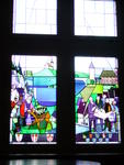 Stained glass window inside the castle